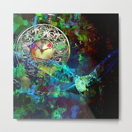 Abstract Owl Time Piece Painting Metal Print