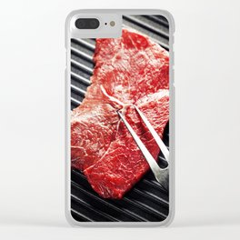 Marbled beef steak with meat fork  in a grill pan Clear iPhone Case
