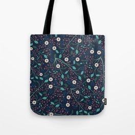 Dense Flora Midnight Tote Bag