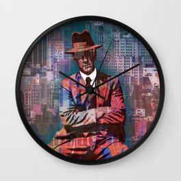 New York Man Seated City Background 2 Wall Clock