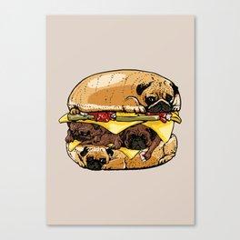 Pugs Burger Canvas Print