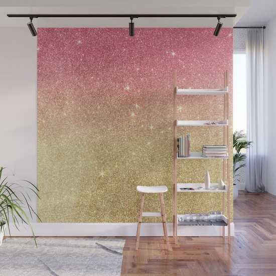 Pink abstract gold ombre glitter by pink_water