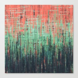Coral Mint Navy Abstract Canvas Print