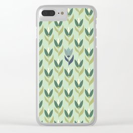Field of Tulips green background Clear iPhone Case