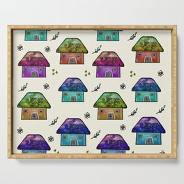 Hand Painted Watercolor Milky Way Roof Top Houses Serving Tray