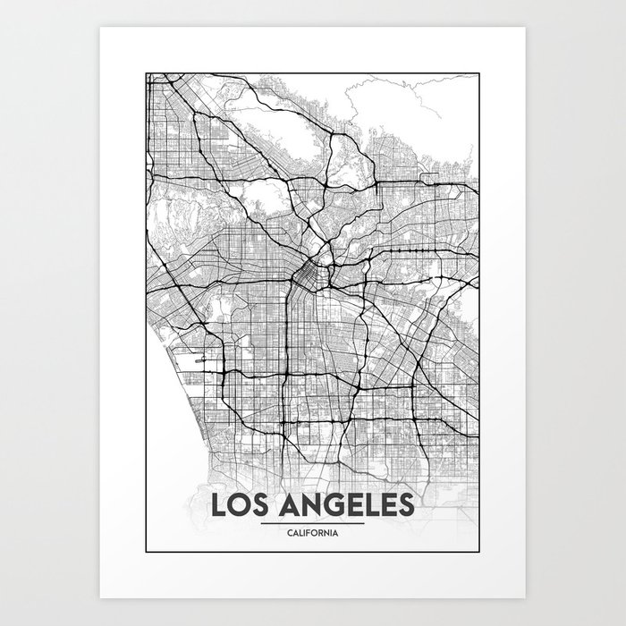 photograph relating to Printable Map of Los Angeles named Small Metropolis Maps - Map Of Los Angeles, California, United Says Artwork Print through valsymot