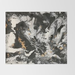 Drama in black and white with gold embellishments Throw Blanket
