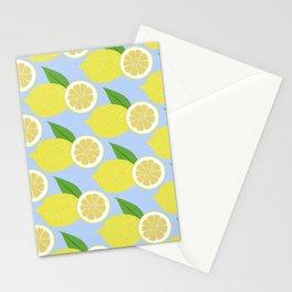 Lemon fruits on blue Stationery Cards