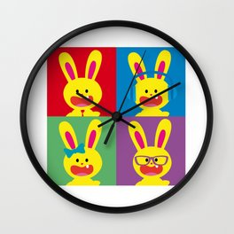 One Tooth Rabbit Pop Art Family Wall Clock