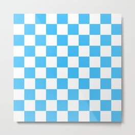 Cheerful Blue Checkerboard Pattern Metal Print