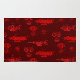 Airship Pattern Scarlet Rug