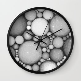 OBLIVIOUS SPHERES IN SPACE BLACK AND WHITE Wall Clock