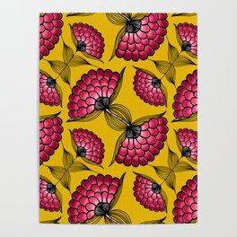 African Floral Motif Poster