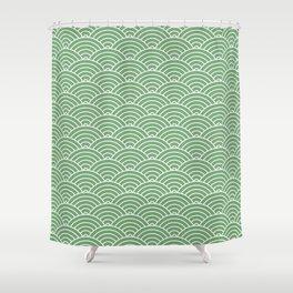 Japanese Waves Pattern Green Shower Curtain