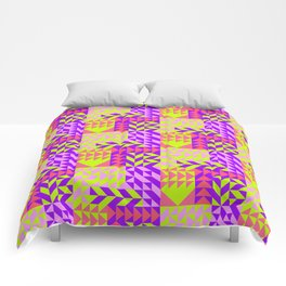 Geometrical abstract pink lilac neon yellow triangles pattern Comforters