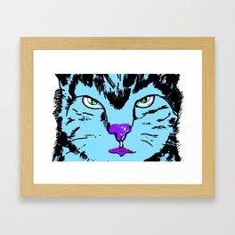 Cat in blue  Framed Art Print