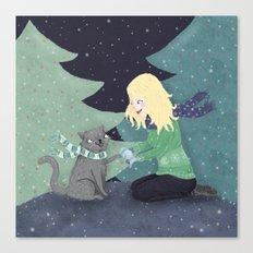 Giving Gifts at Christmas Canvas Print