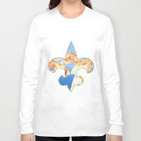 fleur de lis Long Sleeve T-shirts featuring Fleur De Lis Goldfish by KristinMillerArt