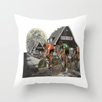 tour de france Throw Pillows featuring Le tour de France by a wardrobe in the space