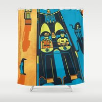 fear and loathing Shower Curtains featuring THIS IS BAT COUNTRY (Fear and loathing in Gotham City) by SimonCARUSO.com