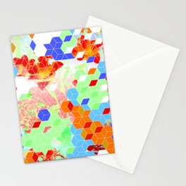 Pop Floral Cube Pattern 2  #fashion #pattern #lifestyle Stationery Cards