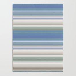 Blue and Neutral Color Stripe Design Poster