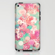 Romantic Pink Retro Floral Pattern Teal Polka Dots  iPhone & iPod Skin