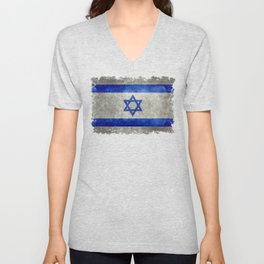 National flag of the State of Israel with distressed worn patina Unisex V-Neck