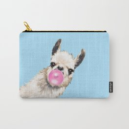 Bubble Gum Sneaky Llama in Blue Carry-All Pouch
