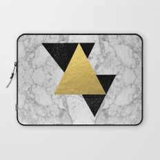 Marble Tri Black & Gold - gold foil, gold, marble, black and white, trendy, luxe, gold phone Laptop Sleeve
