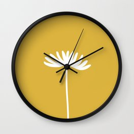 Tall Flower Minimalist Floral in White and Light Mustard Wall Clock