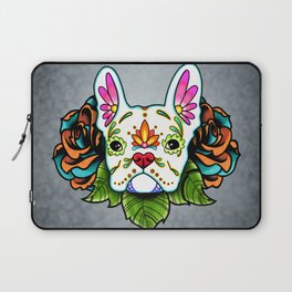 French Bulldog in White - Day of the Dead Sugar Skull Dog Laptop Sleeve