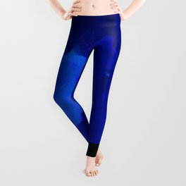 Night blue strokes Dark blue and black abstract painting B01YK Leggings