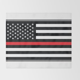Red Thin Flag Firefighter Throw Blanket