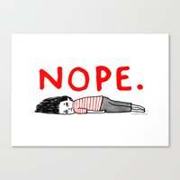 wall clock Canvas Prints featuring Nope by gemma correll