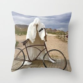 Ghost with bike Throw Pillow