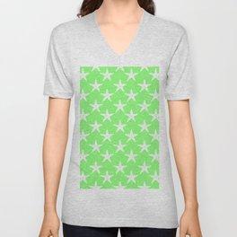 Starfishes (White & Light Green Pattern) Unisex V-Neck