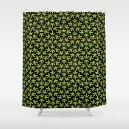 Cannabis Pattern Black Background Shower Curtain