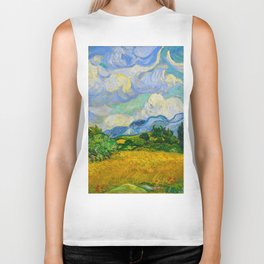 Wheat Field with Cypresses Vincent van Gogh Oil on canvas 1889 Biker Tank