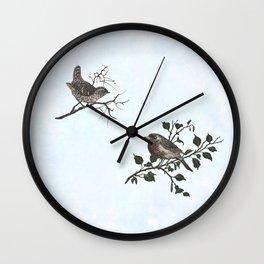 Winter king and Robin companions Wall Clock