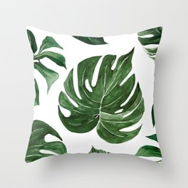 Watercolor Tropical Pattern Throw Pillow