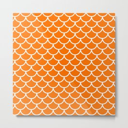 Orange fish scales pattern Metal Print