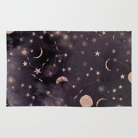 whimsical Area & Throw Rugs featuring Constellations  by Nikkistrange