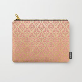 Modern vintage pink faux gold floral damask Carry-All Pouch