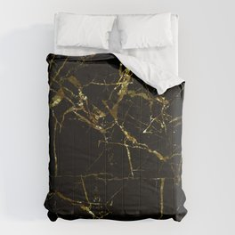 Golden Marble - Black and gold marble pattern, textured design Comforters