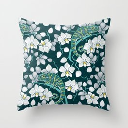 Chameleons and orchids Throw Pillow
