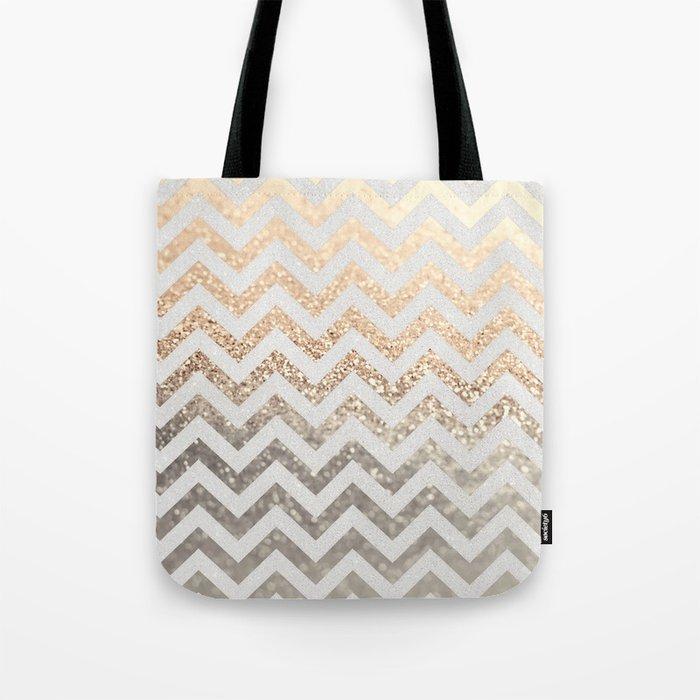 GOLD & SILVER CHEVRON Tote Bag