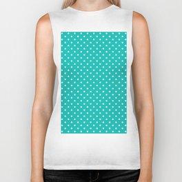 Dots (White/Tiffany Blue) Biker Tank
