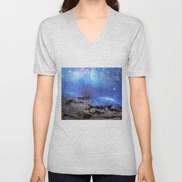 Fantasy Landscape, Moon Stars Unisex V-Neck