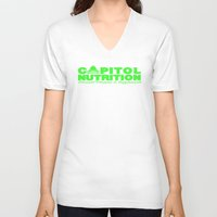 lime green V-neck T-shirts featuring Capitol Lime Green by Capitol Nutrition